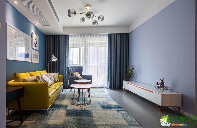 混搭风格100平米三室两厅装修案例效果图--聚轩装饰