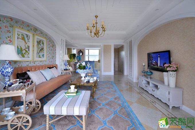 田园风格102平米三室两厅装修案例效果图--弈希装饰