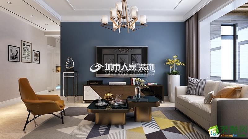 当代MOMA沿湖城B户型三室两厅两卫126平现代简约装修设计