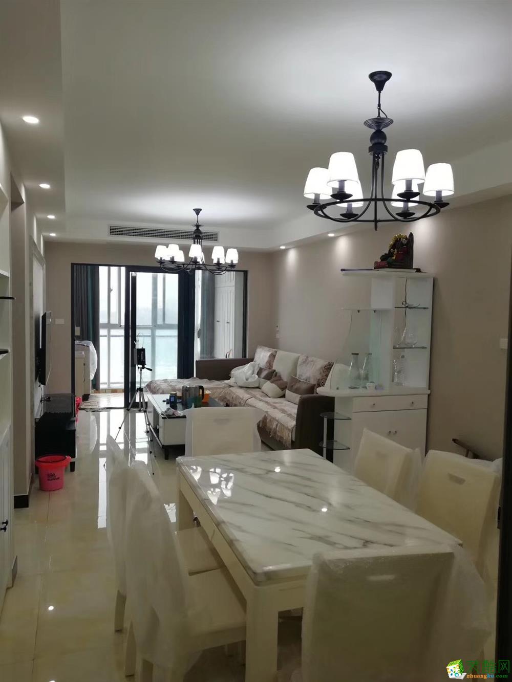 十堰东风阳光城94平米含柜子灯具家具窗帘简约风整装