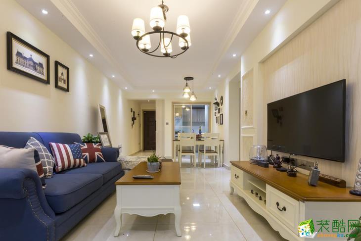 美式风格76平米两室两厅装修案例效果图--辞旧迎新装饰