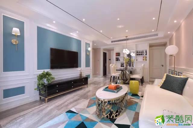 简约法式风格128平米三居室装修案例效果图--辞旧迎新装饰