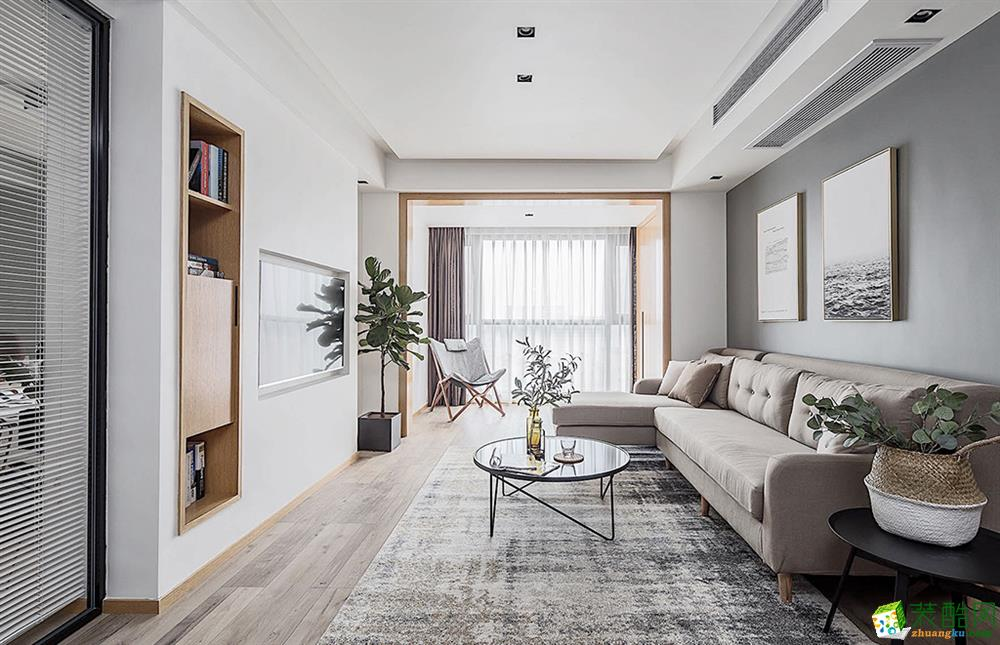 现代简约风格150平米三室两厅装修案例效果图--弼生装饰