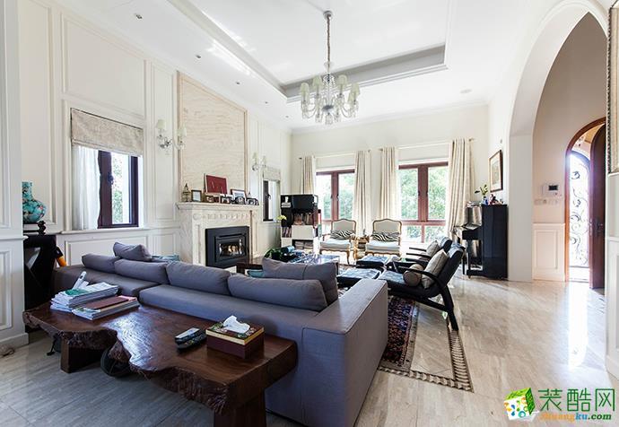 客厅 上海385平米装修--现代风格别墅装修案例效果图赏析 聚通装潢 万科兰乔圣菲别墅设计