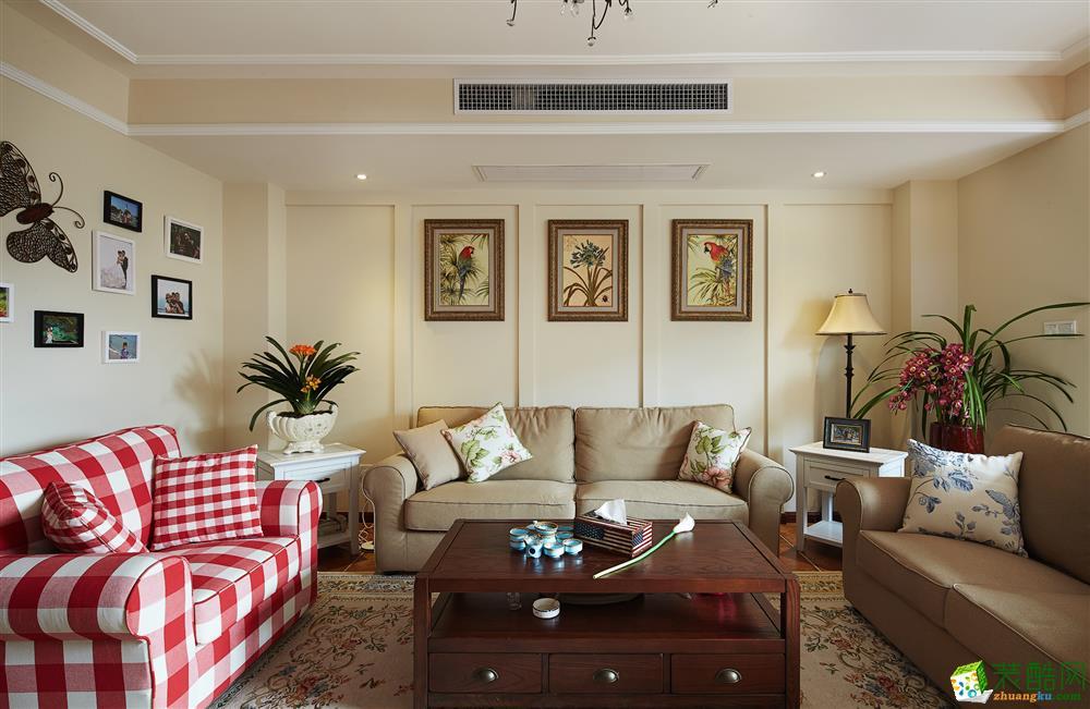 武汉150方三室两厅装修―美颂雅庭美式风格设计作品