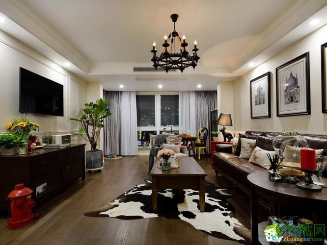武汉130平米三室两厅装修―保和墨水湾美式风格设计作品