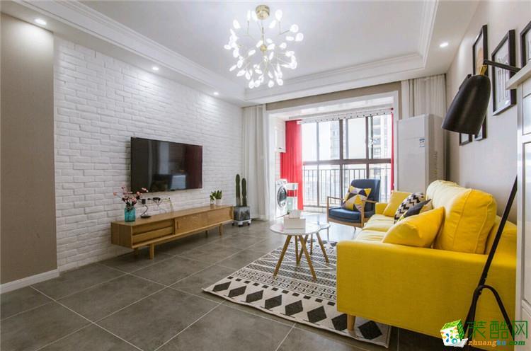 武汉90�O三室一厅装修―汉口春天北欧风格设计作品
