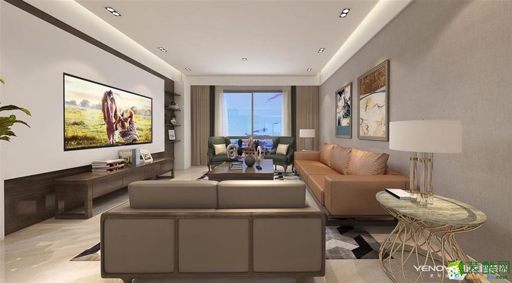 武汉133�O三室两厅装修―复地东湖国际7期现代风格作品