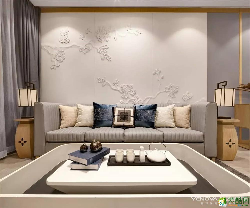 武汉110方三室一厅装修―纽宾凯汉城新中式风格设计作品