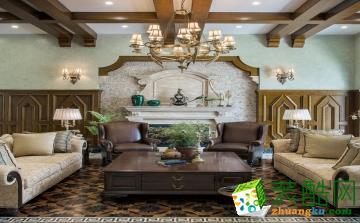 武汉480�O联排别墅装修―流星花园美式古典风格设计作品