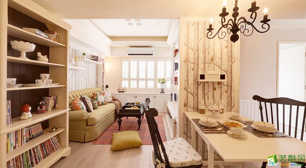 >> 武汉90方三室一厅装修—汉阳保利香颂简美风格设计作品图片