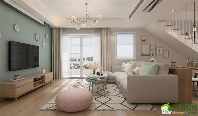 武汉128�O三室两厅装修―东原湖光里北欧风格设计作品