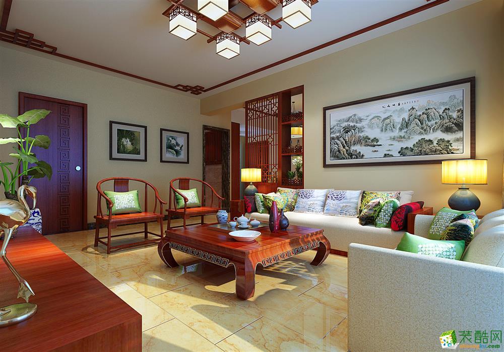 南宁129方三室两厅装修―荣和山水美地中式风格设计作品