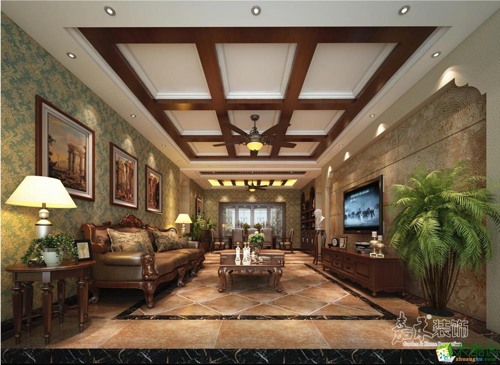>> 乌鲁木齐220平米装修--美式风格跃层住宅装修案例效果图