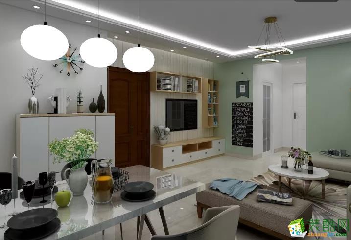 >> 武汉98㎡三室一厅装修—百瑞景简约风格设计效果图图片