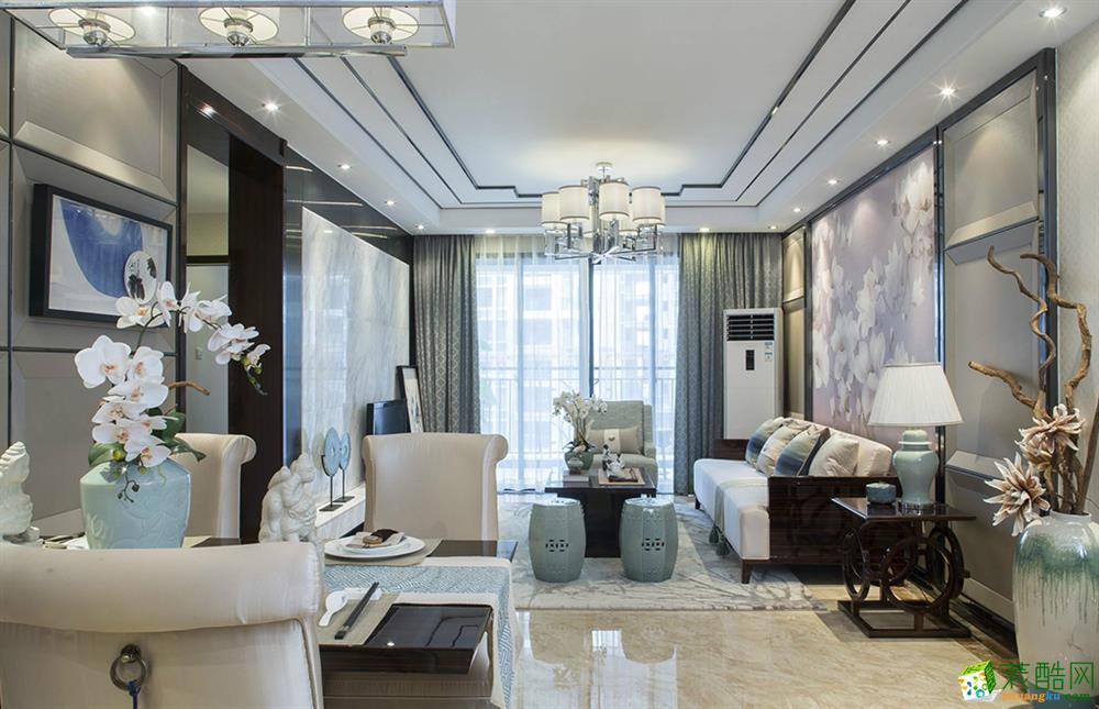 上海100平米装修-茗居装潢 大发融悦四季三室两厅装修 现代风格装修案例效果图