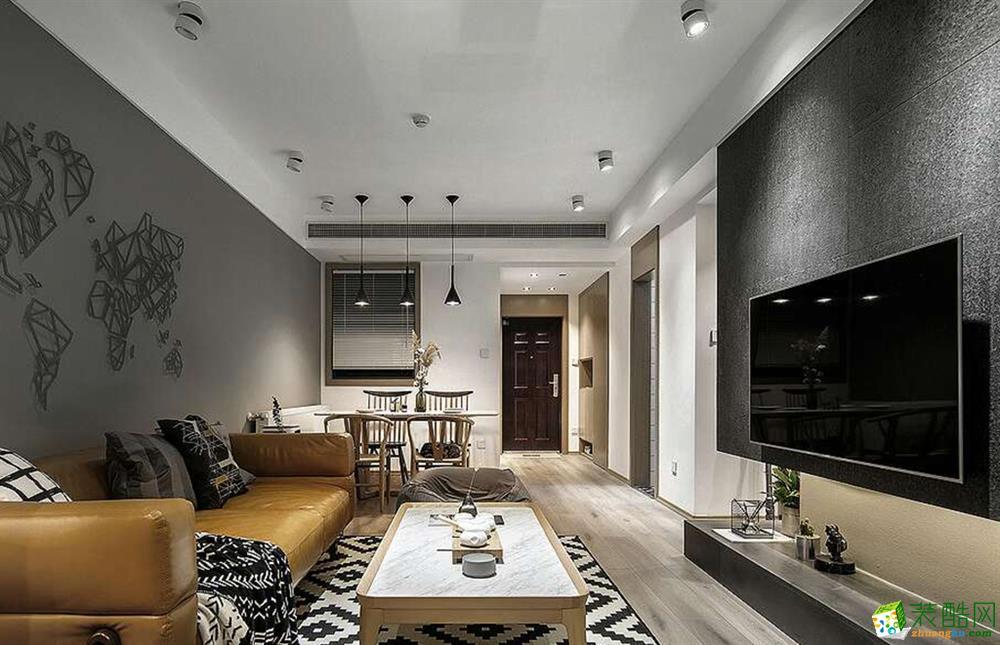 上海75平米装修-尚海装潢 万科金域澜湾两室两厅装修 现代风格装修案例效果图