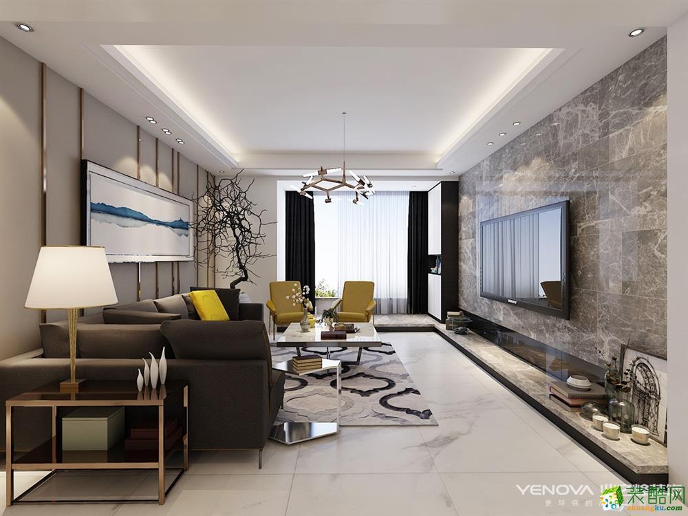 客厅 十堰90平米两室两厅装修—现代轻奢风格设计作品