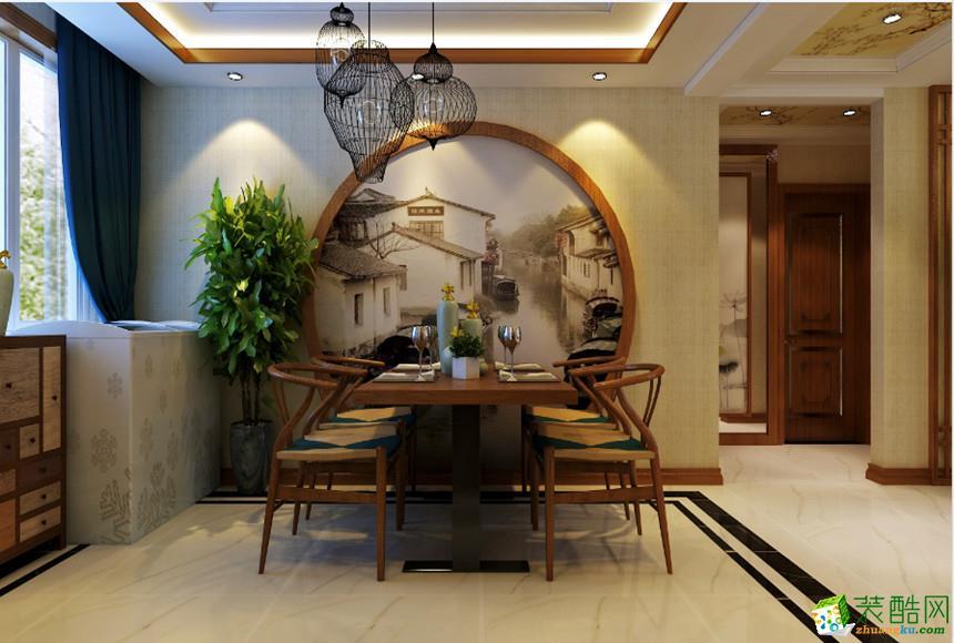 长沙美迪装饰-120平米新中式三居室装修案例