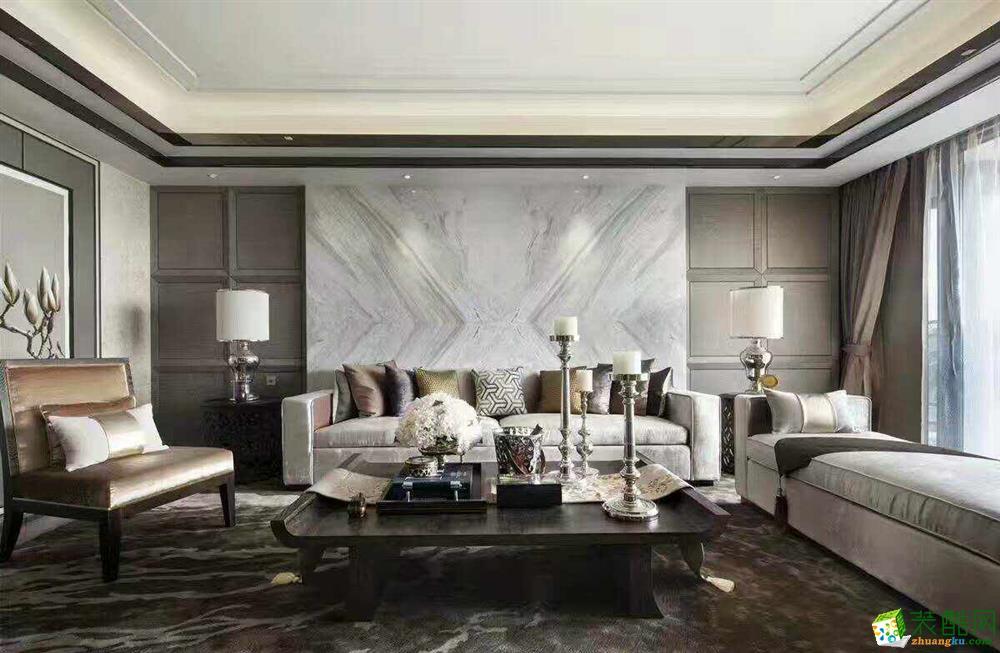 北京龙发装饰别墅装修设计样板房半包65万精装450平米港式风格