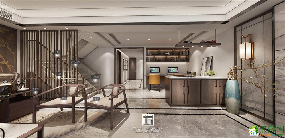 绿地国博城叠墅新中式装修风格设计