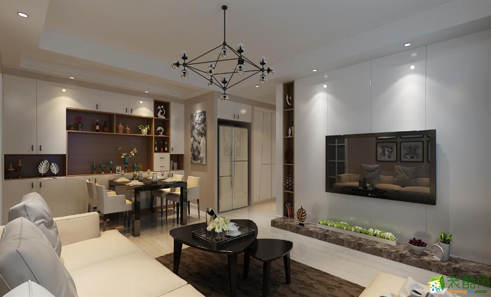 合肥100�O三室一厅装修―绿地新都会简约风格设计作品