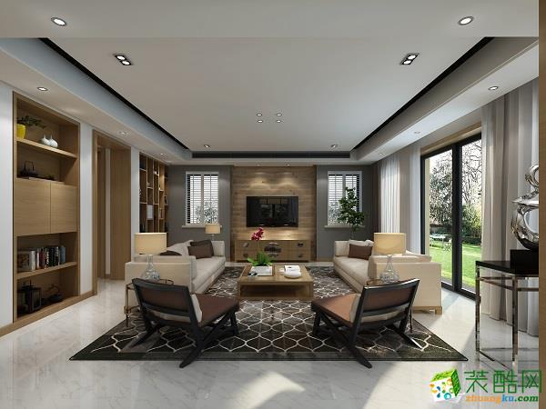现代简约风格160平米别墅住宅装修案例效果图--名师巧匠装饰