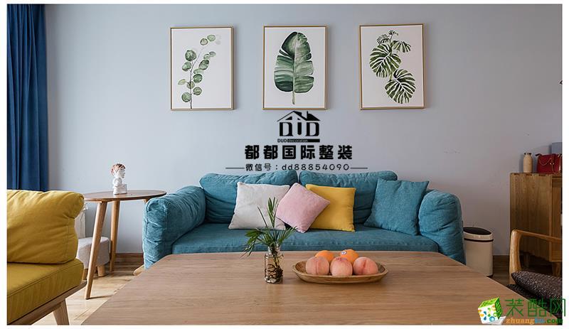 富阳90�O三室一厅装修―都都装饰北欧清新风格设计效果图