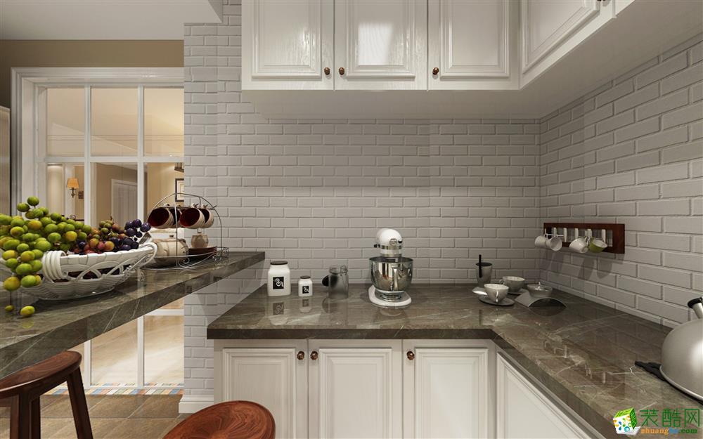 重庆三室两厅100平米装修 和黄御峰美式风格装修案例图赏析 美的家装饰