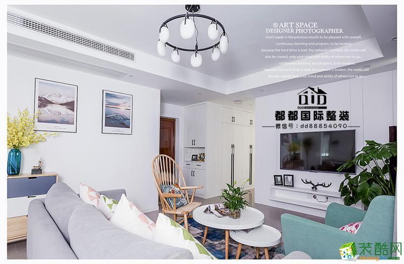 诸暨110�O三室一厅一卫装修―都都装饰清新北欧风格设计作品