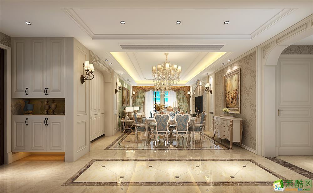 >> 合肥三室两厅装修—山水装饰凯旋门140平欧式风格效果图