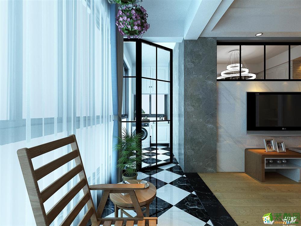 武汉100�O三室一厅装修―招商公园现代风格装修设计作品