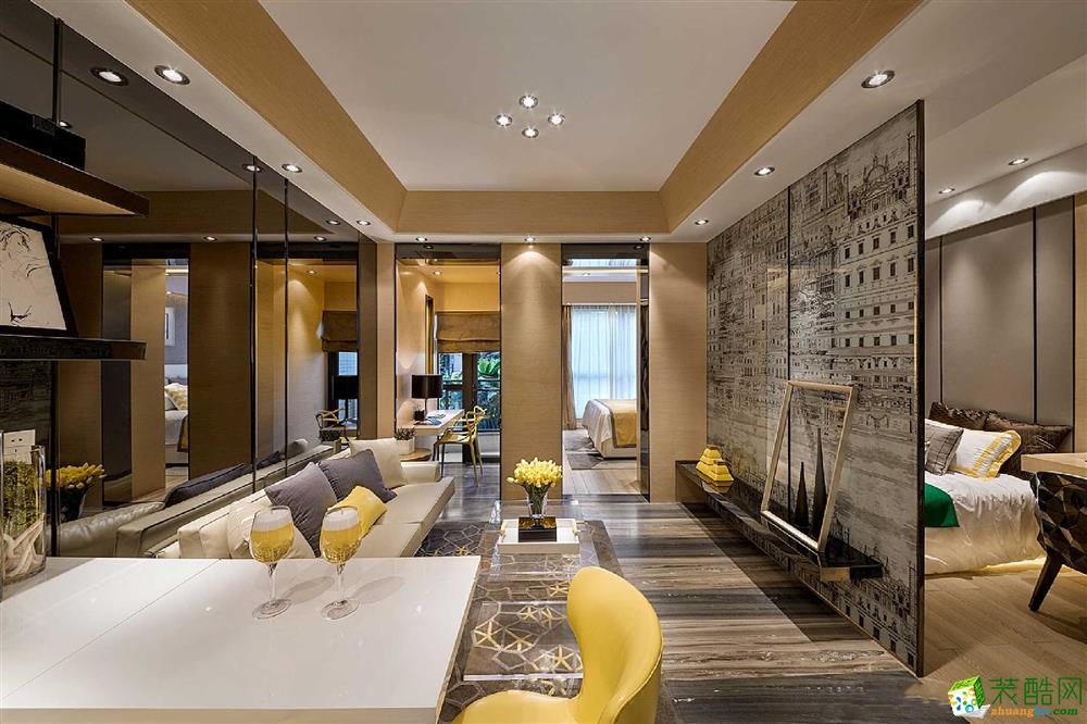 重庆95�O三室两厅装修蓝谷小镇简美风格装修案例图 西港装饰