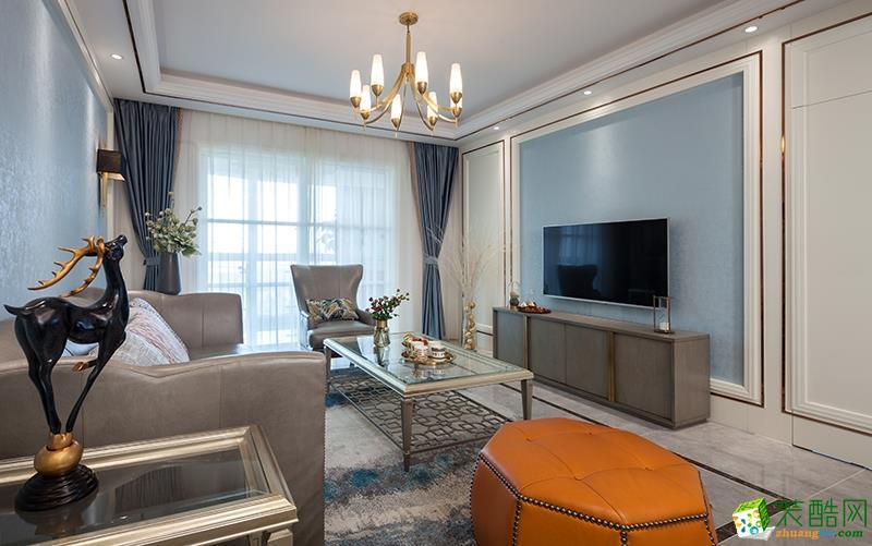 苏州130�O四室两厅装修―湖畔现代城美式轻奢风格作品