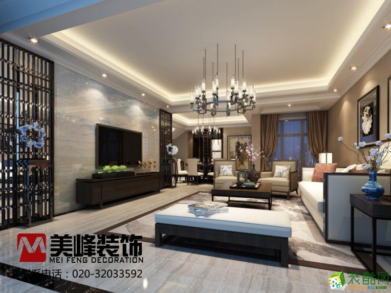 广州200平复式楼装修丽景湾新中式风格装修案例图-美峰装饰