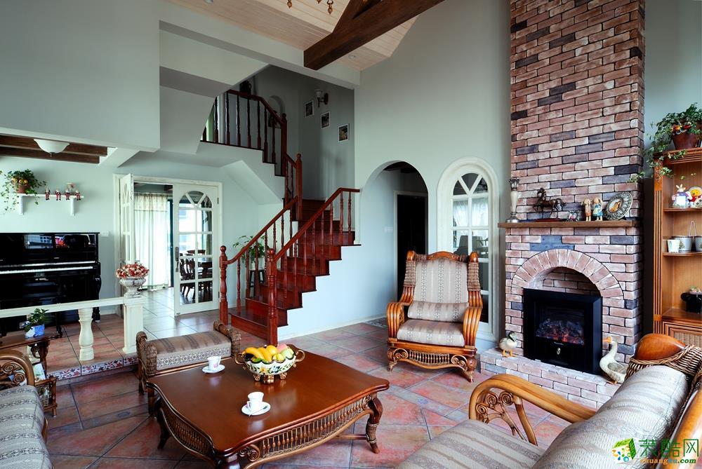 龙湖春森彼岸200平米田园风格复式楼装修案例效果图-唐卡装饰