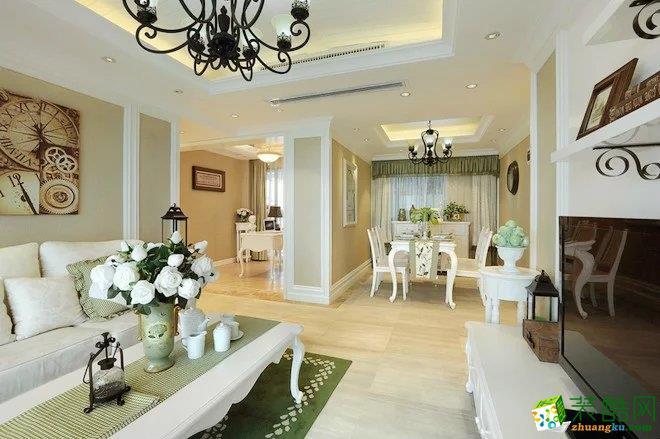 恒大优活城77�O 欧式风格两室两厅装修案例效果图-佩奇装饰