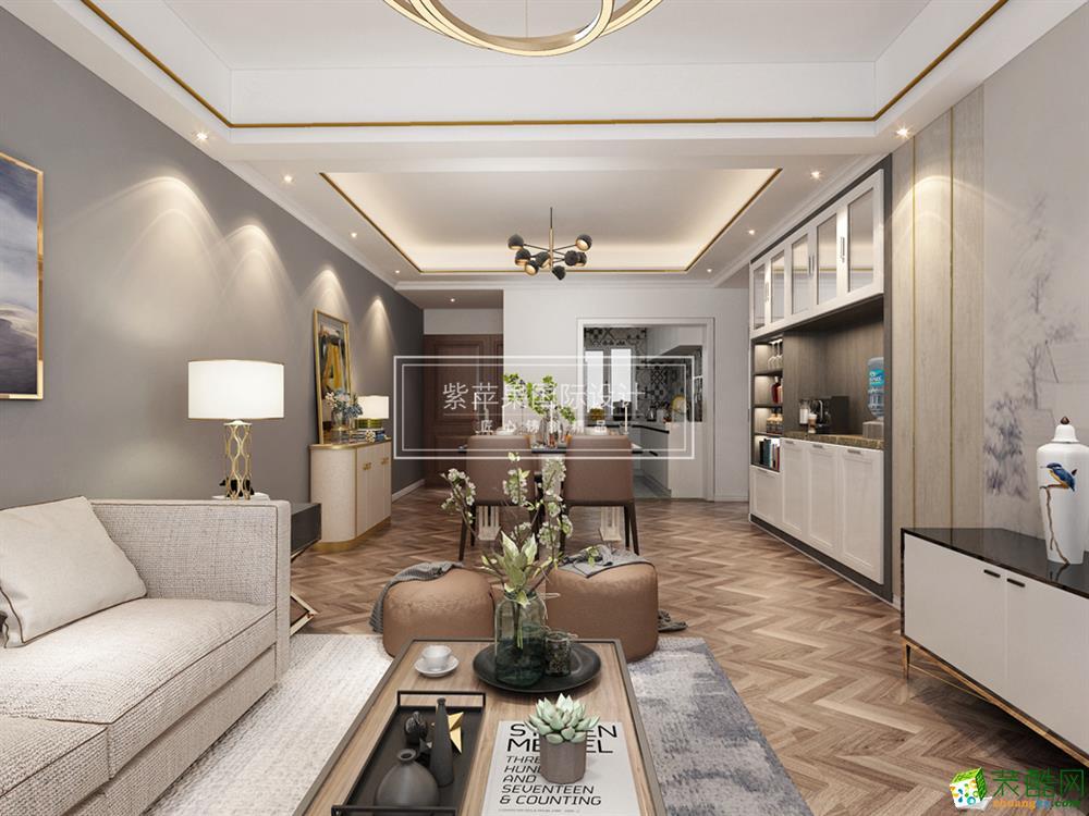 融创凡尔赛花园110平米北欧风格三室两厅装修案例-紫苹果设计