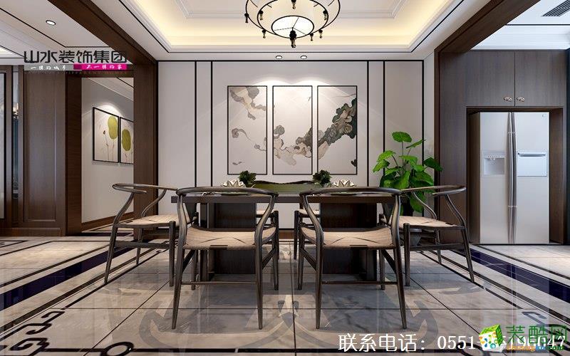 山水装饰蓝鼎星河府140平新中式风格效果图