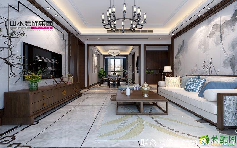 客厅 合肥三室两厅装修—蓝鼎星河府140平新中式风格效果图 山水装饰