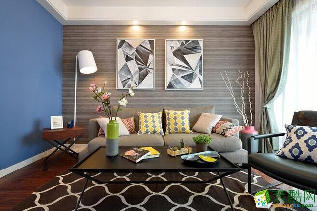 合肥三室一厅装修―禹洲中央广场96�O简约风格设计作品