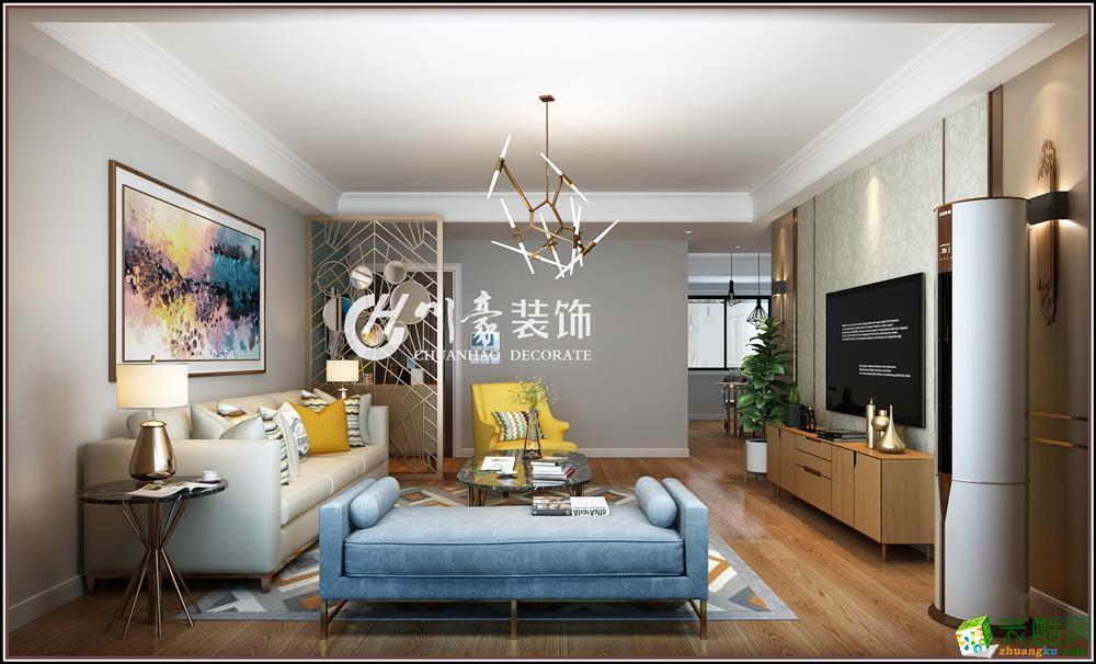 合肥三室两厅装修―水木春城139平现代北欧风格装修效果图