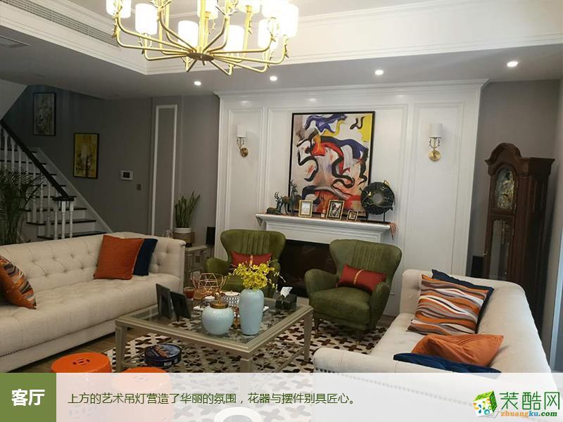 成都蓝光观岭国际300平简欧风格别墅住宅装修图-美画天下