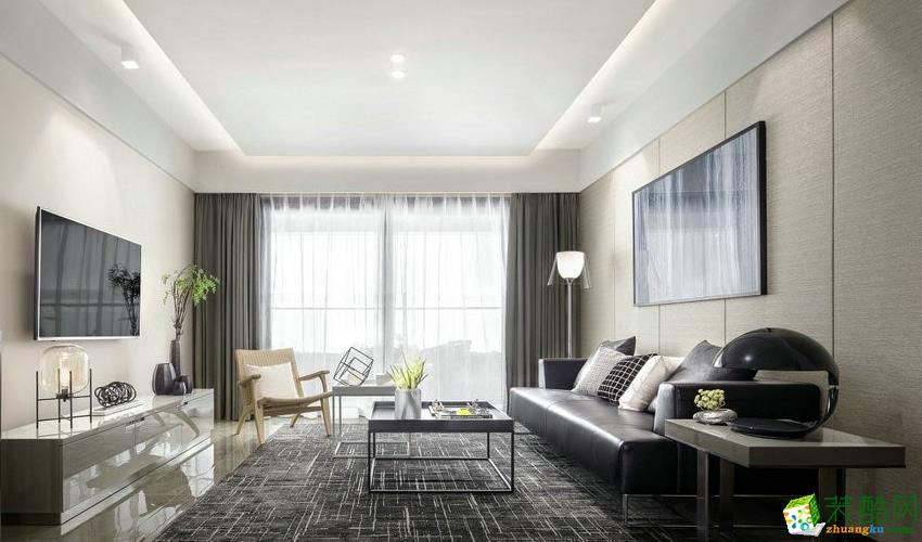 成都80平米两室两厅一厨一卫现代简约风格案例装修效果图-隆庭