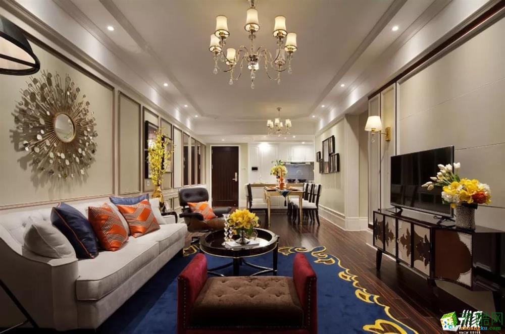 武汉100平米装修―江岸区翰林紫园三室一厅欧式风格设计效果图