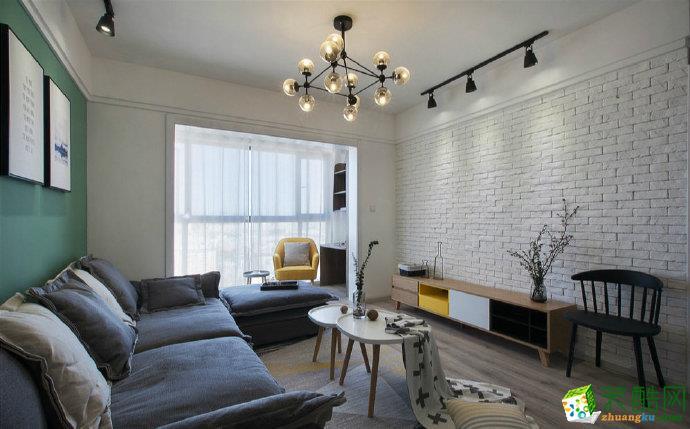 重庆 春山台99平米两室两厅一厨一卫北欧风格案例装修效果图赏析-佳天下装饰