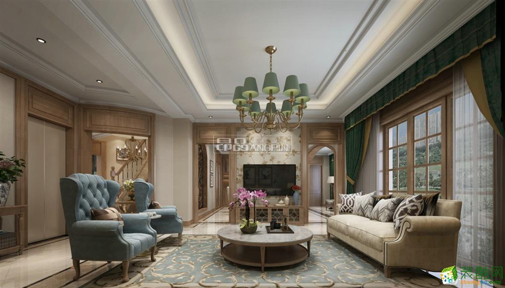 茵特拉根小镇190平米美式风格别墅住宅案例装修-昂品装饰
