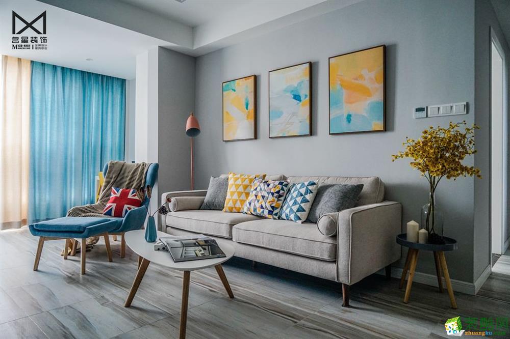 武汉96�O三室两厅装修―绿地汉口中心北欧风格装修效果图