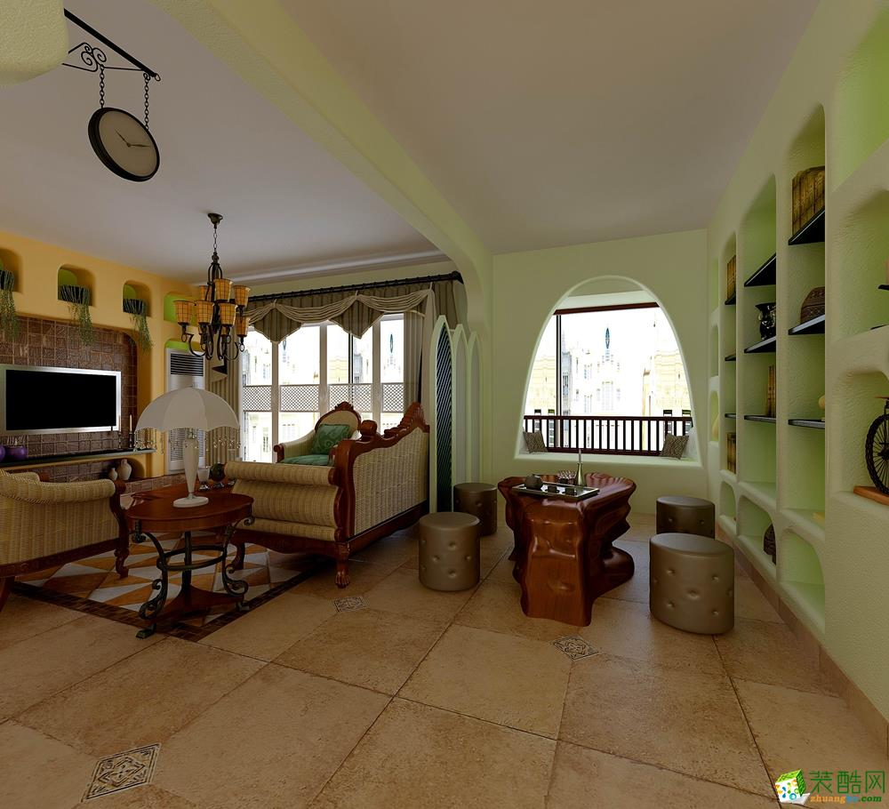 龙湖-江与城130平米田园混搭风格三室两厅一厨两卫-唐卡装饰