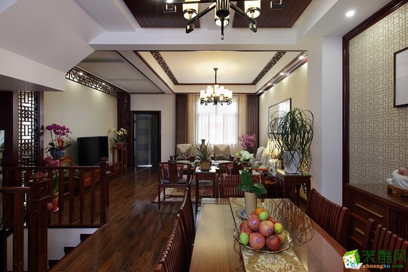 上海 中景水岸230平米中式風格別墅住宅案例裝修效果圖-騰龍設計